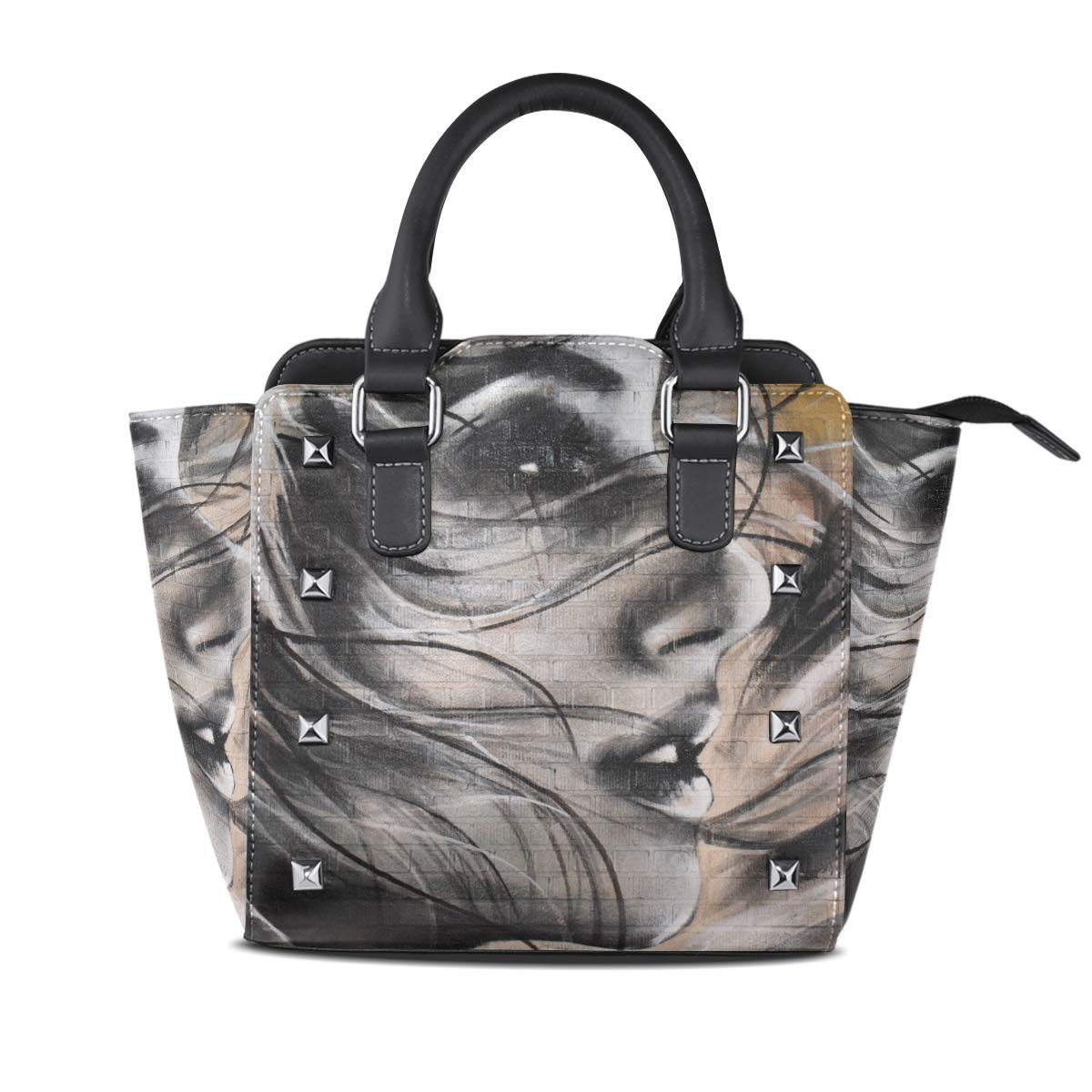 Design 1 Handbag Brown Brick Wall With Woman Painting Genuine Leather Tote Rivet Bag Shoulder Strap Top Handle Women