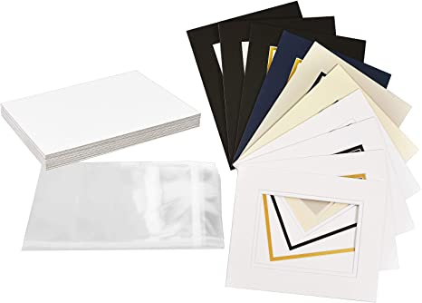 Mat Board Picture Paper Mats Photos 10 Pack 11x14 Inches Size with White Core Bevel Cut for 8x10 Inches Photos Opening Acid Free Mixed Colors