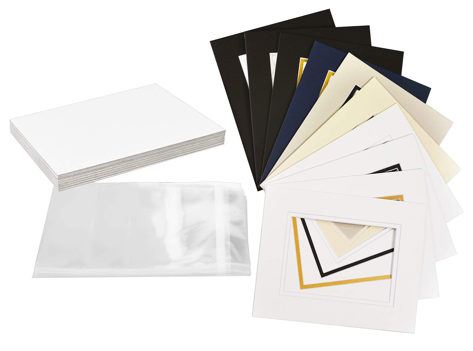 Backing Pack of 25 8x10 White Picture Mats Mattes with White Core Bevel Cut for 5x7 Photo Bags
