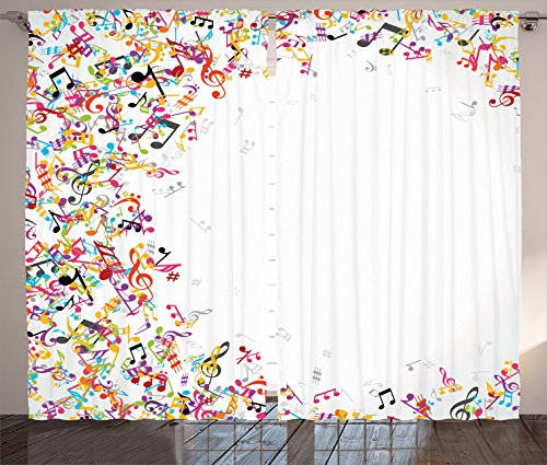 """Ambesonne Music Curtains, Colorful Musical Notes Frame Festival Singing Enjoyment Fashion Themed Print, Living Room Bedroom Window Drapes 2 Panel Set, 108"""" X 84"""", White Yellow"""