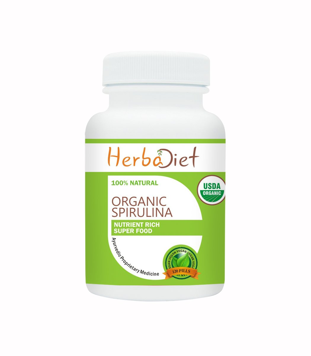 Herbadiet 100% PURE Organic Spirulina 500mg Maximum Strength Daily Dosage Tablets Pills Superfood Detox Cold Pressed (8 Tablets/ 1 Day Supply) by Herbadiet (Image #1)