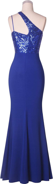 Fazadess Womens One Shoulder Sequin Side Split Splicing Evening Dress