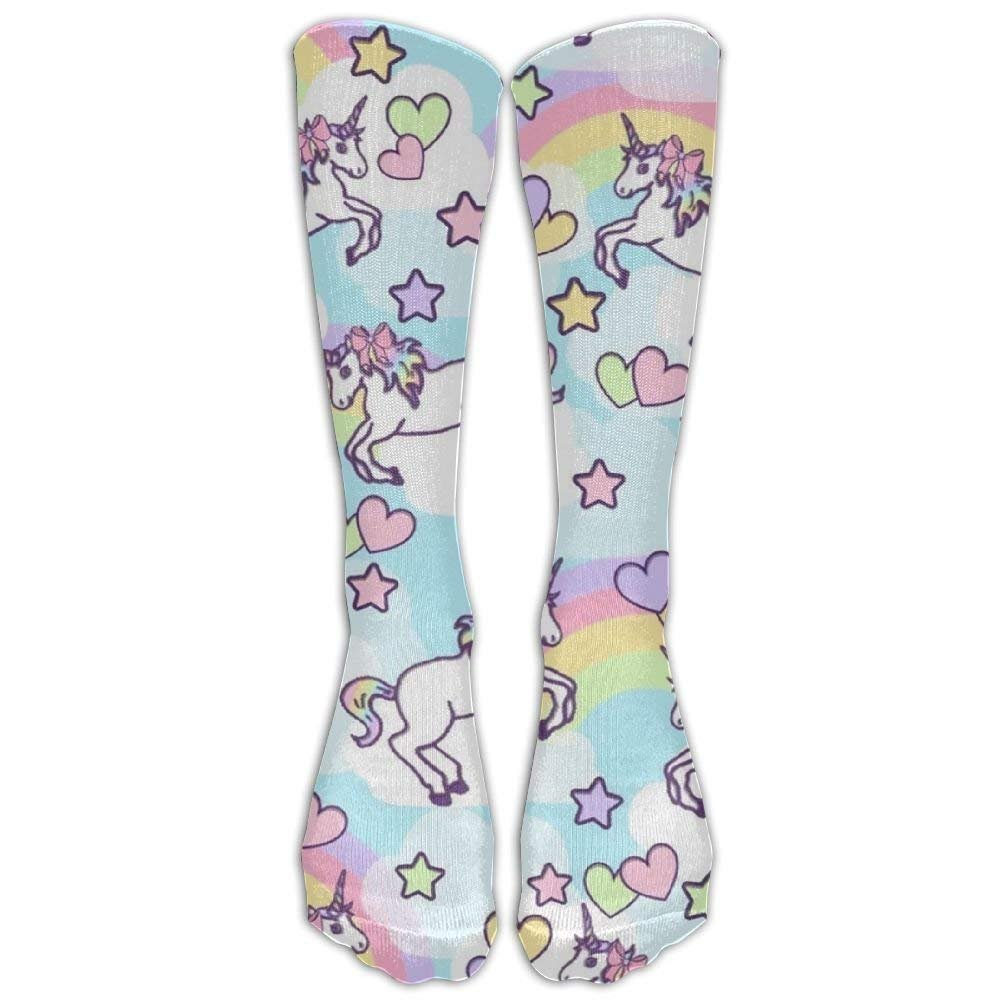 Rainbow Unicorn Girls Funny Socks Knee High Stockings Cotton Socks Pillow hats