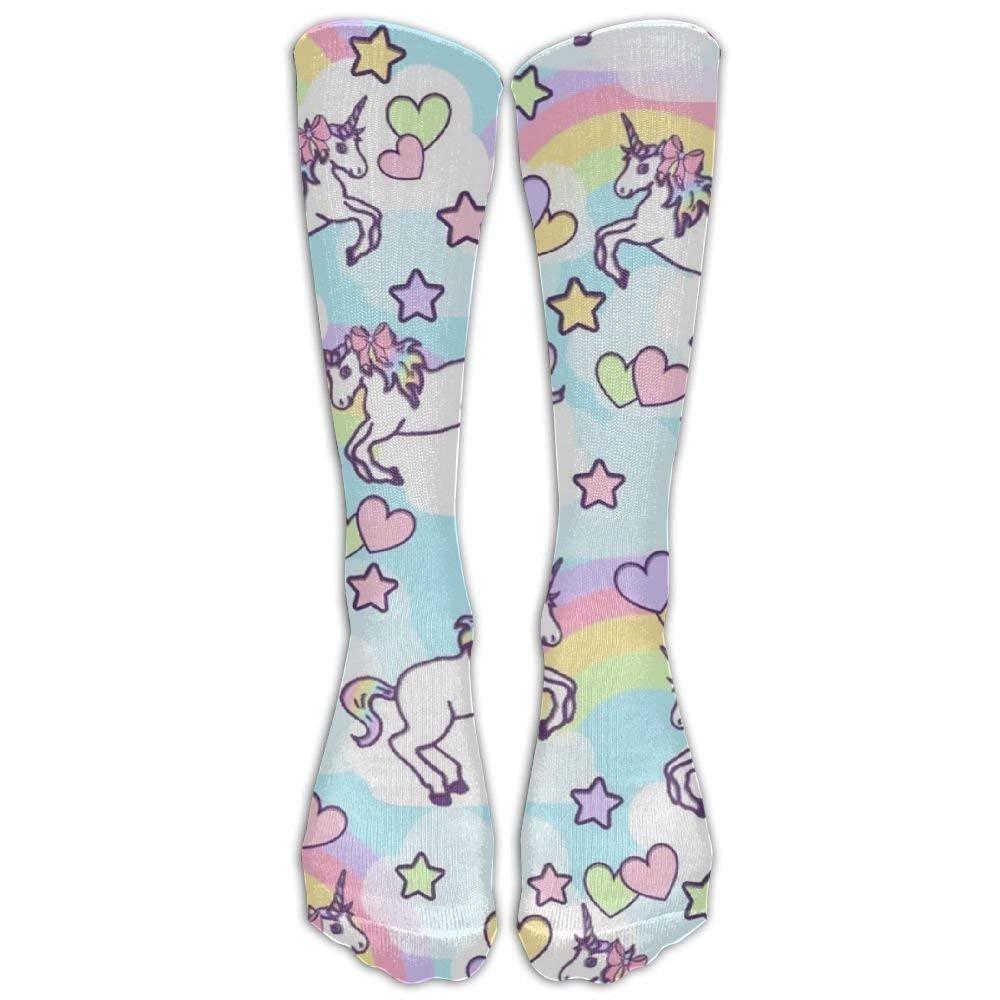 Rainbow Unicorn Girls Funny Socks Knee High Stockings Cotton Socks loejrfw