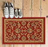 Designed for ultimate durability and care-free maintenance, this rubber backed rug is manufactured for well wearing everyday use. Vibrant colors and traditional prints will bring warmth and calm to any home. An anti-skid, non-slip backing pre...