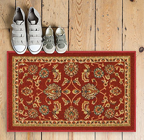Well Woven Non-Skid/Slip Rubber Back Antibacterial 18 x 31 Door Mat Rug Timeless Oriental Red Traditional Classic Sarouk Thin Low Pile Machine Washable Indoor Outdoor Kitchen Hallway Entry