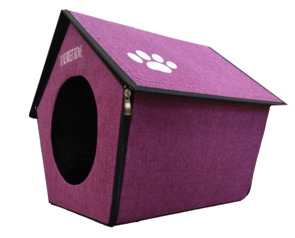 Ducomi® Home Sweet Home - Pajarera rígida para perros y gatos - Caseta plegable para perro y gato con forma de casa - de regalo un gadget especial: ...