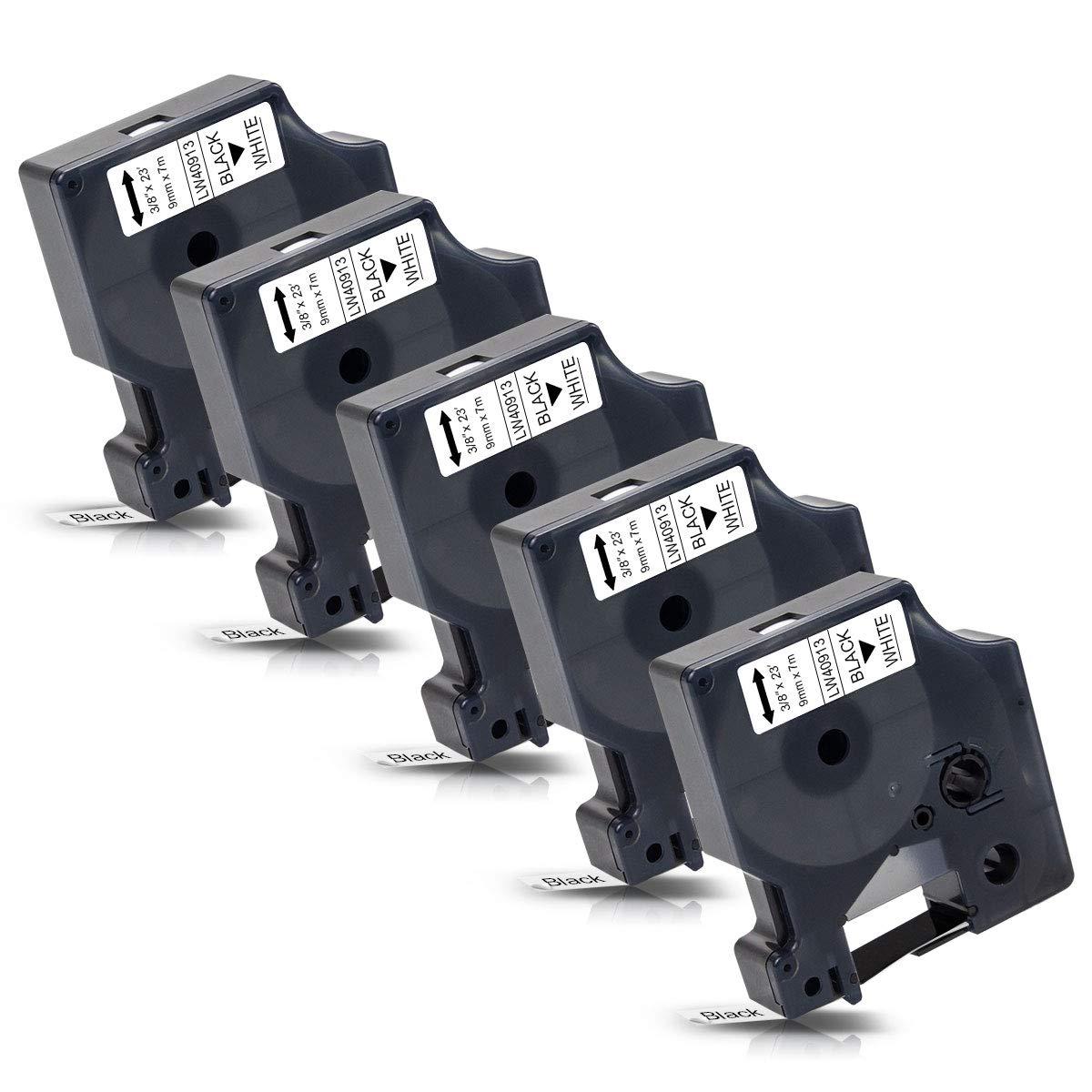 5x Labelwell Reemplazo para Dymo D1 40913 Negro sobre blanco ...
