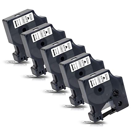 5x Labelwell Reemplazo para Dymo D1 40913 Negro sobre blanco Etiquetas autoadhesivas - 9mm x 7m Cinta para impresora Dymo LabelManager LabelPoint 100 ...