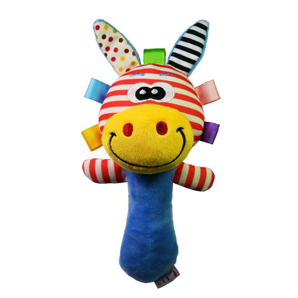 Newin Star Kid Toys - Chirriador de peluche para bebé, juguete musical de peluche (jirafa azul)