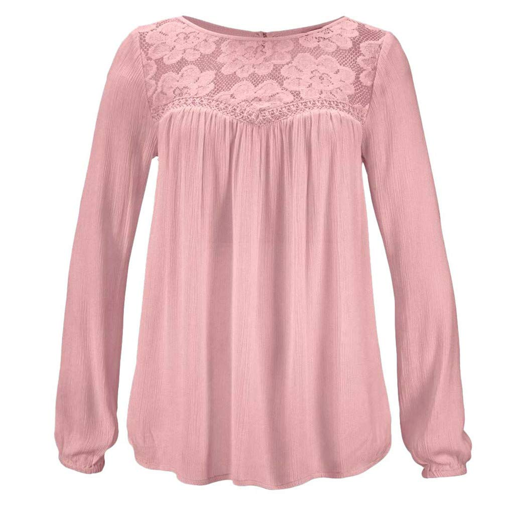 Women Tunic Blouse Long Sleeve Lace Patchwork Solid Color Print Loose Casual Tops (S, Pink)