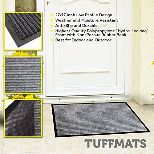 (Door Mats Outdoor Indoor|Doormat for Outside or Inside Home,RV or Camper| Non Slip Technology Provides Safety in Your Home Low Profile Charcoal Grey Washable By TuffMats)