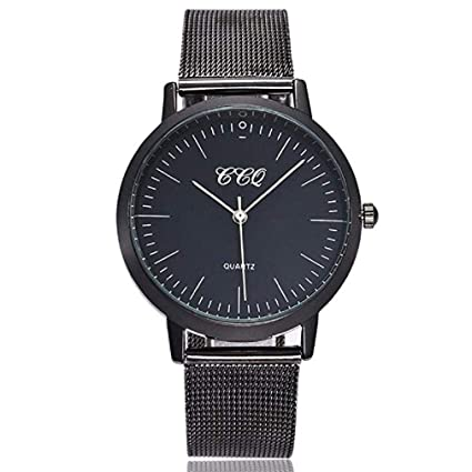 Windoson Women Quartz Watch Simple Style Big Face Stainless Steel Mesh Band Elegant Casual Analog Wrist