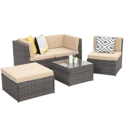 Wisteria Lane Outdoor Conversation Set Patio Furniture, 5PCS Sectional Sofa  Set Wicker Glass Tale Chair