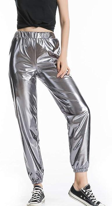 Mxssi Reflexión Láser Harajuku Pantalones de Chándal Mujer ...