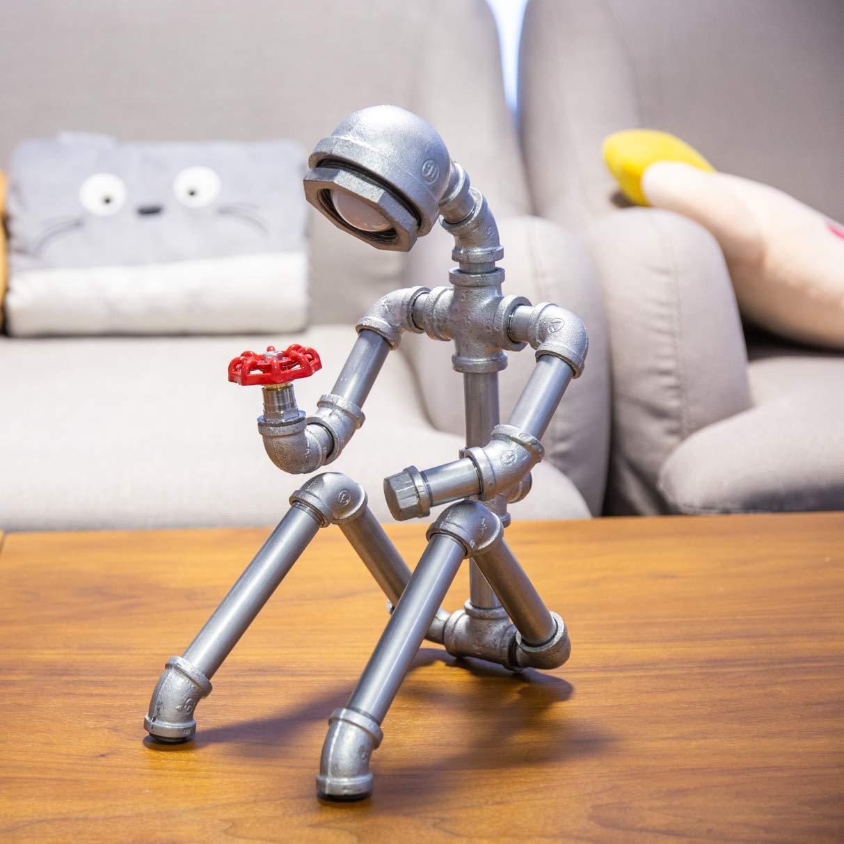 AHB nostálgico Robot Industrial USB Lámpara de Mesa-LED-Escritorio-Lectura-Iluminación Hogar Creativo Estilo Vintage Dormitorio de Lectura Lámpara de Mesa ...