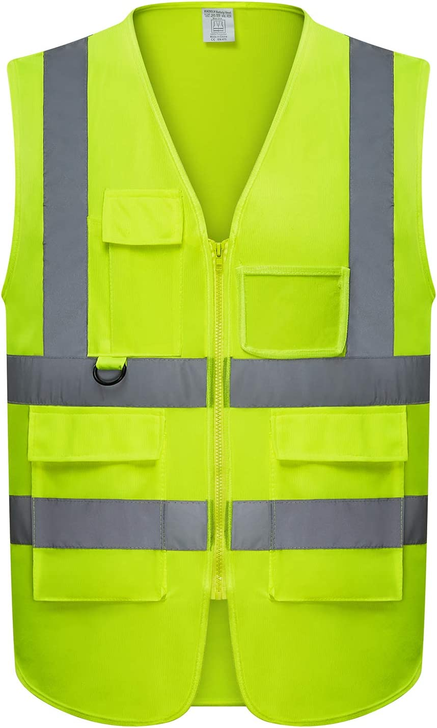 Safety Vest | 5 Pockets | High Visibility Reflective Strips | Color Neon Yellow (XL)