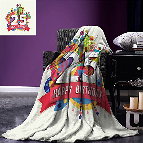 smallbeefly 25th Birthday Custom Design Cozy Flannel Blanket Funny Celebration Greeting Card Inspired with Number Text Label Art Print Lightweight Blanket Extra Big Multicolor (Flannel Label)