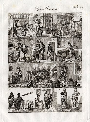 - Antique Print-GLASSBLOWER-ASTRONOMER-WINERY-Czech-1844