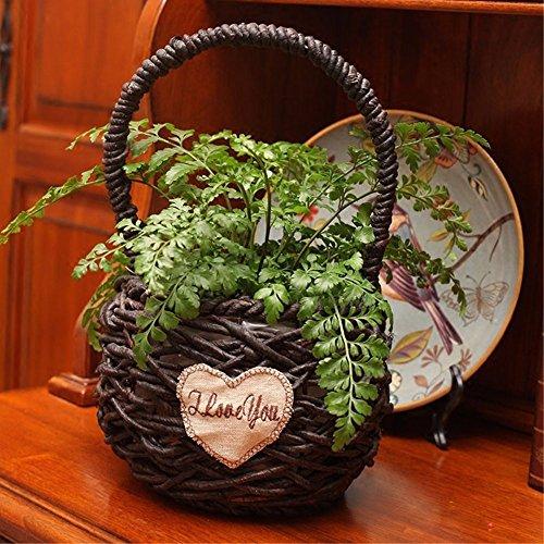 Hand-woven flower baskets willow straw rattan flower basket pure handmade mini small Basket by EXDJ