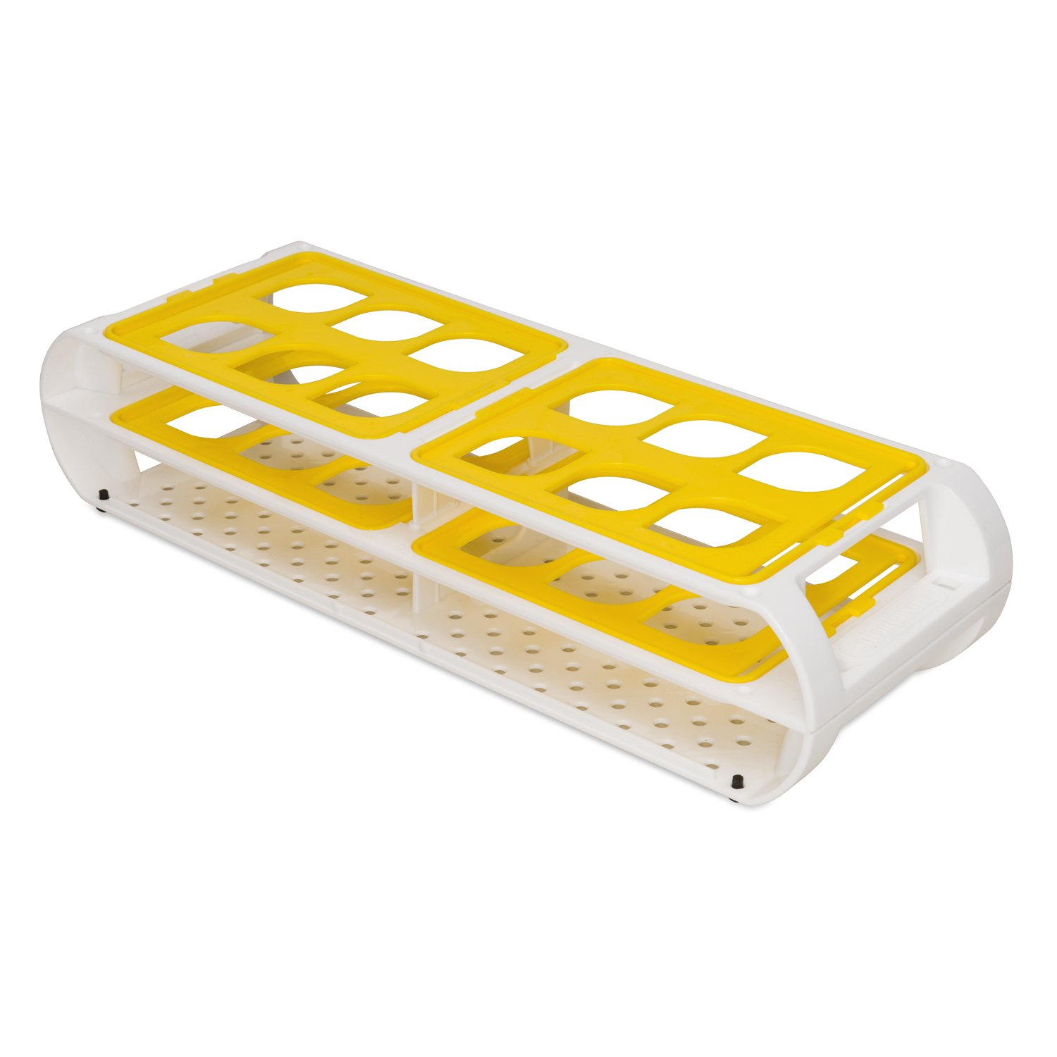 Bel-Art F18745-0014 Switch-Grid Test Tube Rack; 12 Places, 25-30mm, 12½ x 4⅜ x 2⅝ in., Yellow