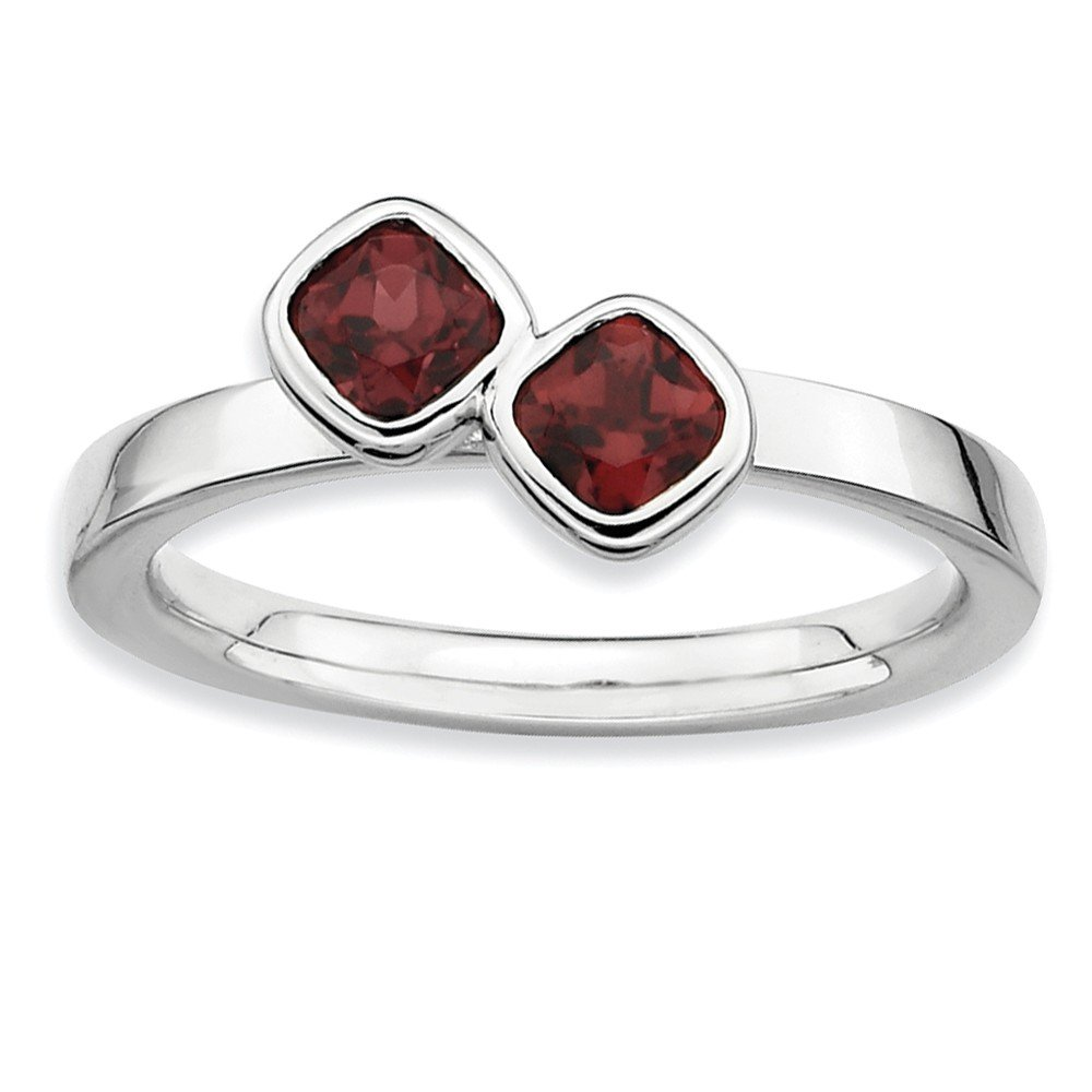 Top 10 Jewelry Gift Sterling Silver Stackable Expressions Dbl Cushion Cut Garnet Ring