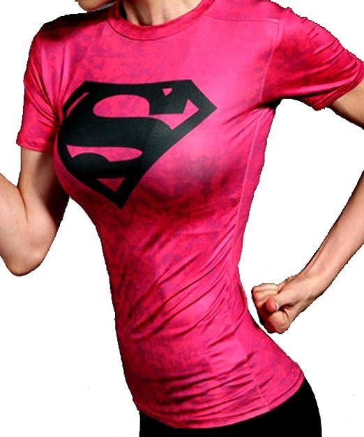 Camiseta Mujer Compresion Licra para Entrenar y para IR al Gimnasio. Camisetas con Estampados Cody. (Logo Superman Negro) - M: Amazon.es: Ropa y accesorios