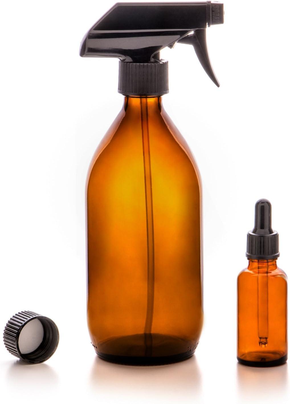 Nutra4Radiance Vaporizador en Botella de Cristal Ámbar 500mL + Cuentagotas Botella 30mL Eco-friendly / Reutilizable para Belleza Orgánica / Aromaterapia / Plantas