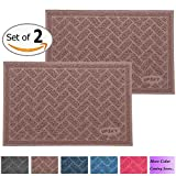 UPSKY Premium Cat Litter Mat Trapper - Traps Litter from Box and Paws - Scatter Control for Litter Box - Soft on Sensitive Kitty Paws - Easy to Clean - Durable - Set of 2 (Champagne)