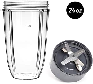24OZ Replacement Cup and Blade for Nutribullet, UHAPEER 24 Ounce Tall Cup & Extractor Cross Blade & Rubber Gasket Replacement Parts, Compatible with Nutribullet 600W 900W Series Blenders