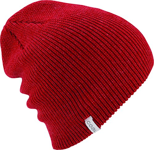 The Frena Solid Fine Knit Beanie Hat,Heather Red,One Size