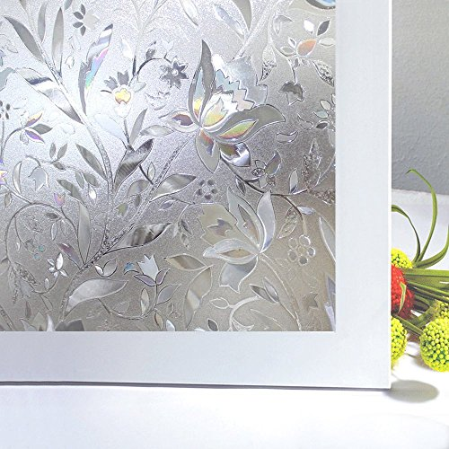 "Bloss Frosted Paper Privacy Window Film Stain Glass Privacy Film 3D Tulip Vinyl Non Adhesive Static Cling for Bathroom Home Door Kitchen Living Room Office Meeting Room 17.7"" x 78.7"""
