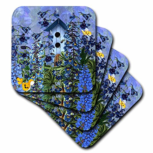 Flower Birdhouse - 3dRose CST_79436_1 Larkspur Garden Julys Birth Flower with Birdhouse and Butterflies Perfect for The July Birthday-Soft Coasters, Set of 4