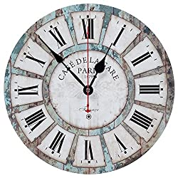 KI Store Wall Clocks Decorative Silent Non Ticking Vintage Wall Clock Ocean Blue Rustic Style 12 Inch for Living Room Bedroom Kitchen Office