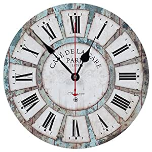KI Store Wall Clocks Decorative Silent Non Ticking Vintage Clock Ocean Blue Rustic Style 12
