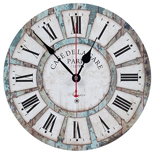 Wall Clock Decorative KI Store Silent Wall Clock Non Ticking Vintage Rustic Style Wall Clocks Blue Ocean Theme 12-Inch for Bedroom Living Room Bathroom