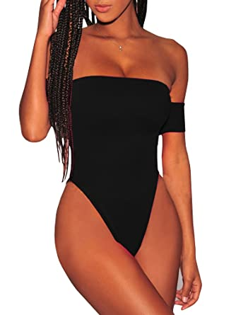 18e2cc1a2fe16 Womens Cheeky One Piece Swimsuit High Cut Off The Shoulder Sexy Criss Cross  Monokini (Small