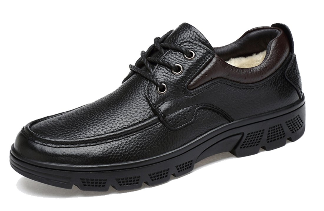 TDA Men's Casual Rubber Sole Black Leather Stitching Dress Business Lace-up Shoes 7 M US by TDA