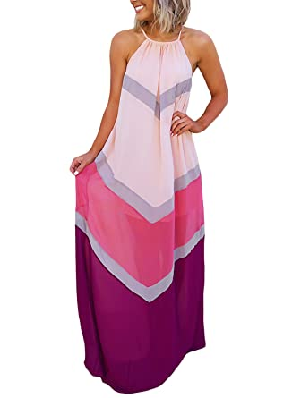543e00c5836 Lovezesent Women Summer Halter Neck Bohemian Style Fit and Flare Long Maxi  Beach Dresses Party Holiday