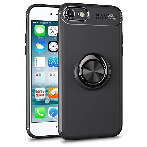 finest selection 7f81d 2e566 iPhone 8/7 Case, HXAYR Ultra Thin Slim Fit Shockproof Flexible TPU Bumper  Back Cover with Rotating Ring Holder Kick-Stand Grip Protective Phone Case  ...