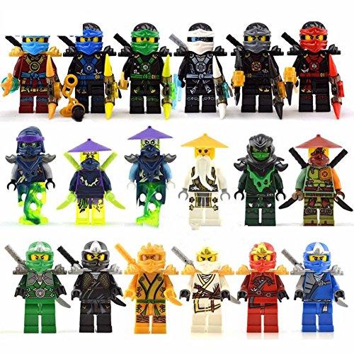 18 pcs Minifigures Set Jay Cole Lloyd Kai Nya Zane fits Lego by PlayFun (Movie Star Costumes London)
