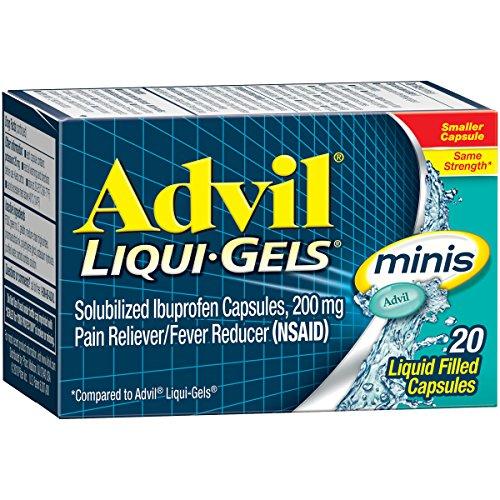 Advil Liqui-Gels Minis (20 Count) Pain Reliever/Fever Reducer Liquid Filled Capsule, 200mg Ibuprofen, Temporary Pain Relief
