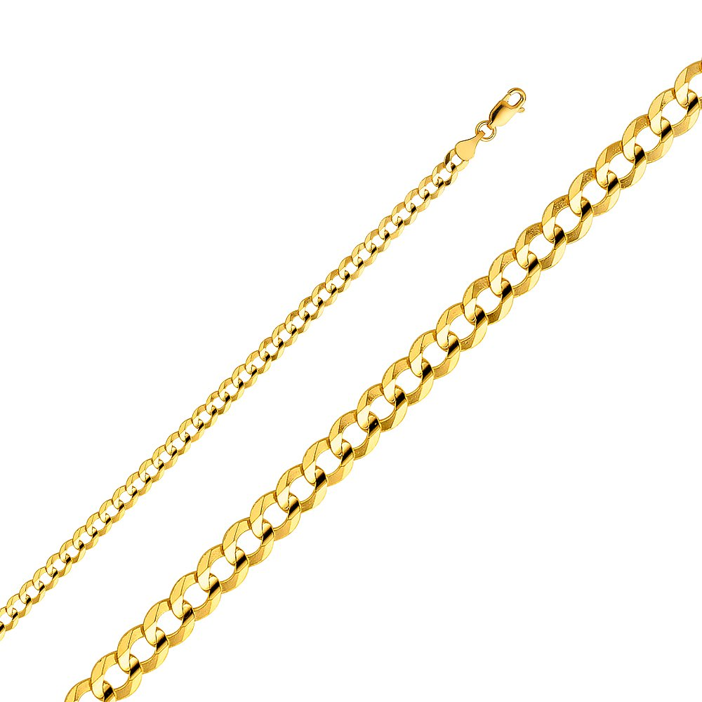14K Solid Gold 4.7mm Open Light Cuban Chain, Lobster Clasp (24 Inches)