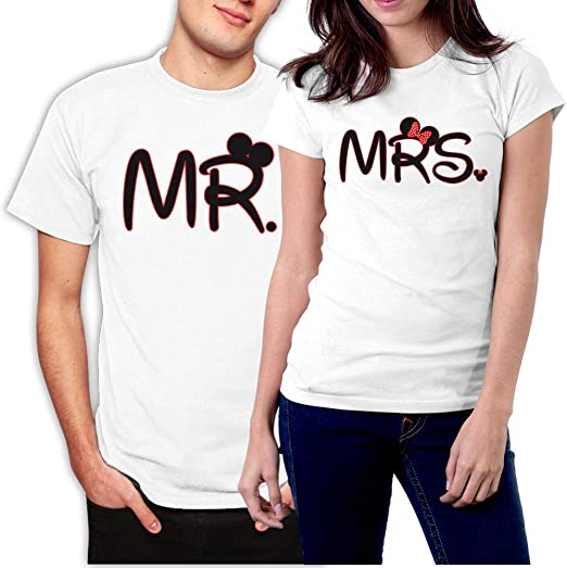 Mr and Mrs Just Married His and Her couple white T-shirts set with mickey