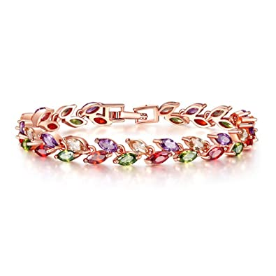 Yazilind Buckle Bracelet Rose Gold Plated Beautiful Color Zircon Armreif Party Jewelry For Women Girls wy0BpDrS4l