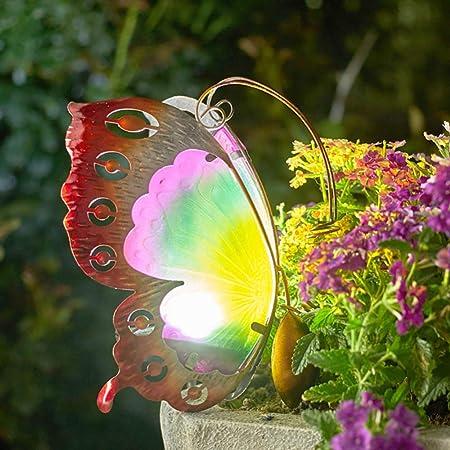 zenggp Jardín Luz Solar Césped Al Aire Libre Metal Decorativo Vidrio Mariposa Decoración,Orange: Amazon.es: Hogar