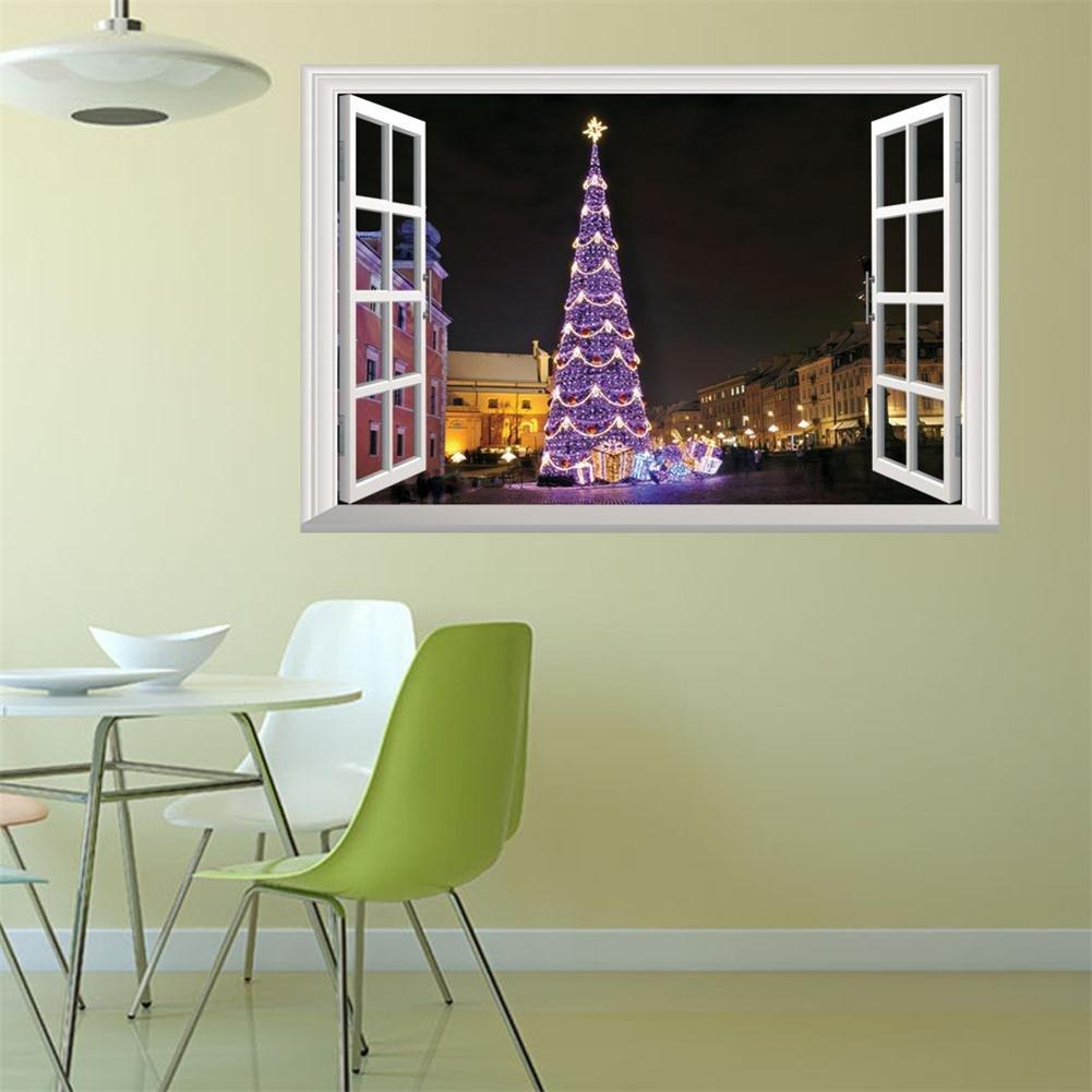 Abnehmbare Weihnachten Falsche fenster wandaufkleber, 3D Farbigen ...