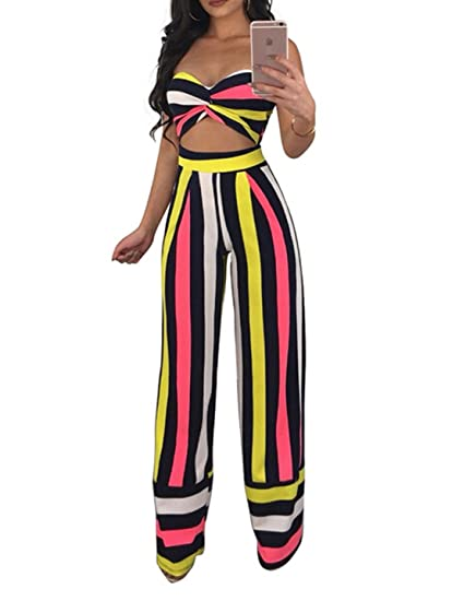35e1f90ac9b7 Womens Sexy Striped Off Shoulder 2 Pieces Outfits Jumpsuit Romper Crop Top  and High Waist Wide