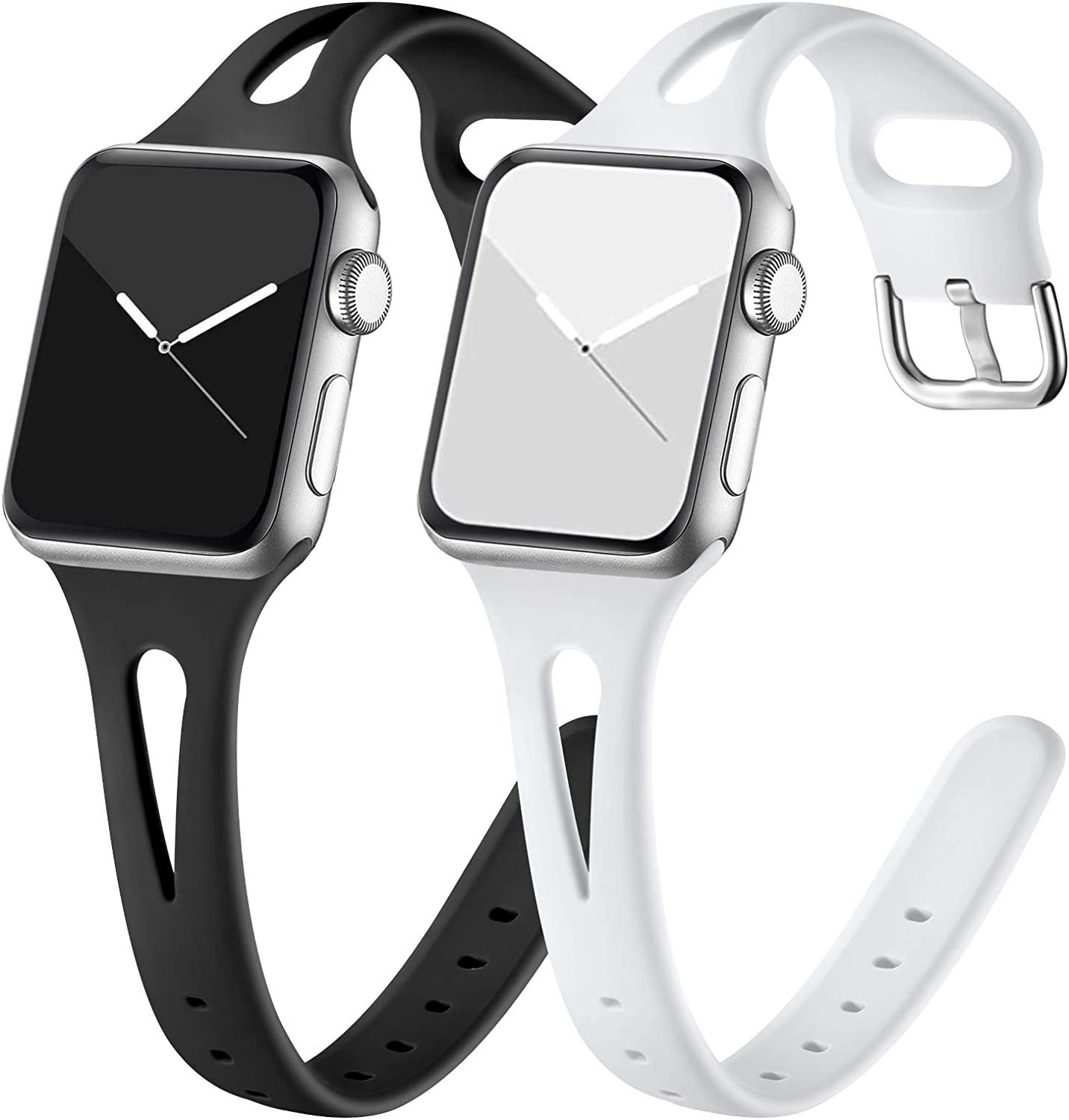 GEAK Compatible with Apple Watch Bands 40mm Women Series 4, Soft Slim Sports Wristband for Apple Watch Band 38mm Women Series 3 38mm Series 2 1 Black/White
