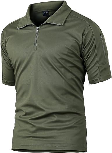 Camisa de Combate para Hombres Caza táctica Militar Polo de Manga Corta Held Airsoft Camuflaje Camiseta Uniforme táctico Ropa Deportes al Aire Libre para Multicam Verde Large: Amazon.es: Ropa y accesorios